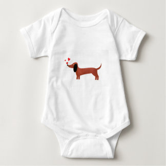 Dachshund with little red hearts t shirts