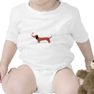 Dachshund with little red hearts bodysuit