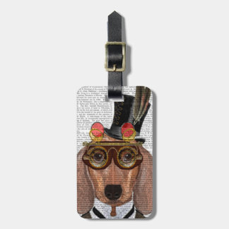 Dachshund with Top Hat and Goggles Luggage Tag