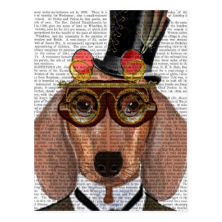 Dachshund with Top Hat and Goggles Postcard