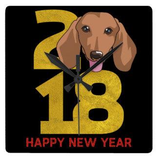 Dachshund Year of the Dog 2018 New Year Clock
