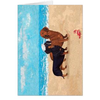 Dachshunds at the Beach Card