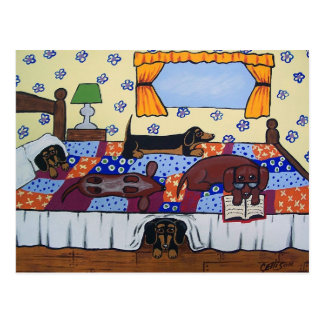 Dachshunds Bed Time Story Postcard