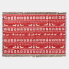 Dachshunds Christmas Sweater Pattern Red Throw Blanket