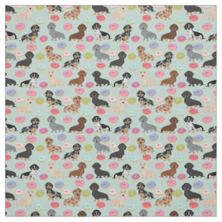Dachshunds Donuts Fabric - cute doxie fabric print