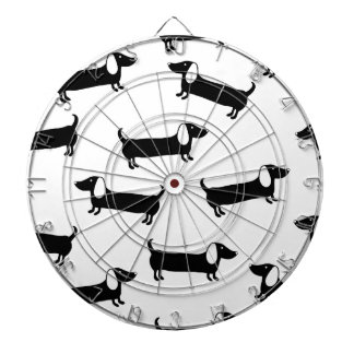 Dachshunds in black and white dartboard