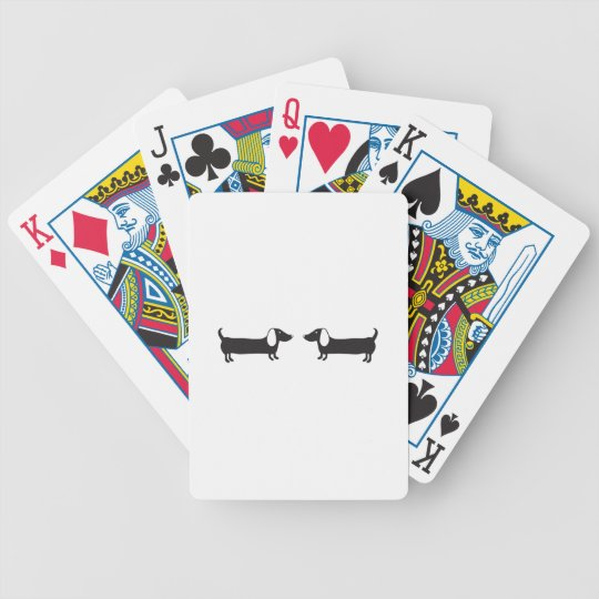 Dachshunds in black and white love bicycle playing cards
