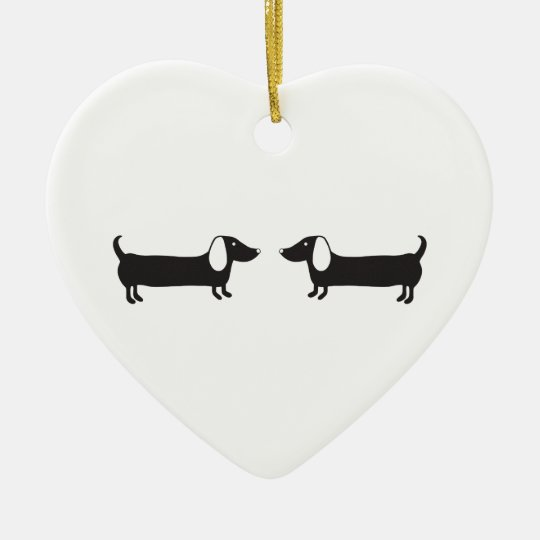 Dachshunds in black and white love ceramic ornament
