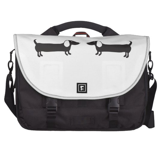 Dachshunds in black and white love commuter bags
