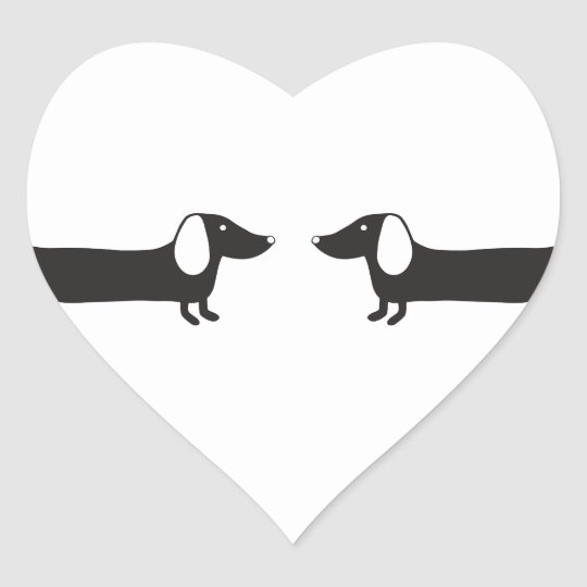 Dachshunds in black and white love heart sticker