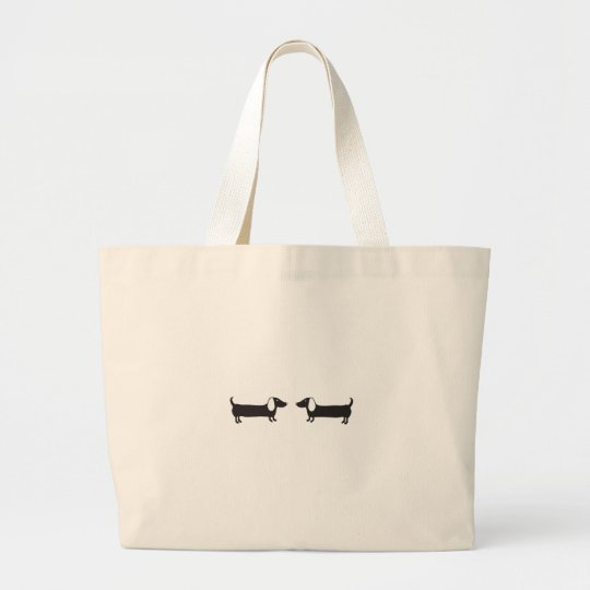 Dachshunds in black and white love large tote bag