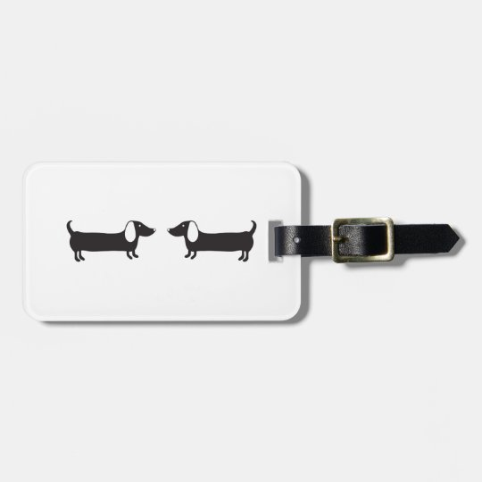Dachshunds in black and white love luggage tag