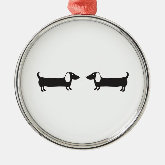Dachshunds in black and white love metal ornament