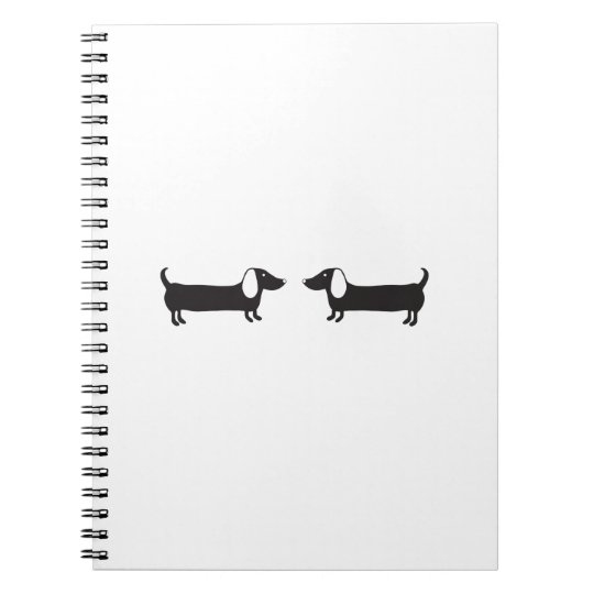 Dachshunds in black and white love notebook