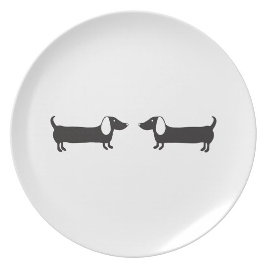 Dachshunds in black and white love plate