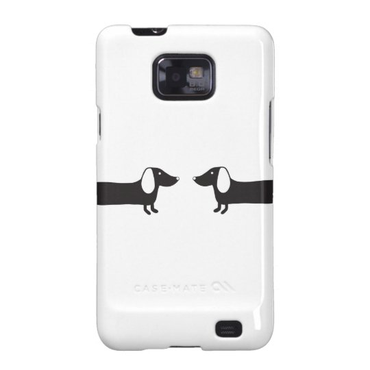 Dachshunds in black and white love samsung galaxy SII case
