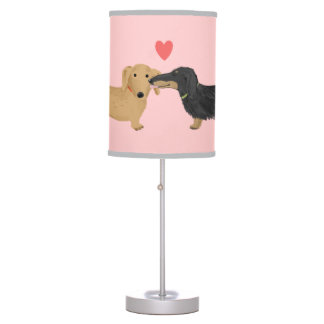 Dachshunds in Love Table Lamp