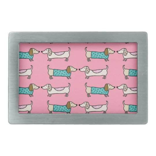 Dachshunds in pink love belt buckle