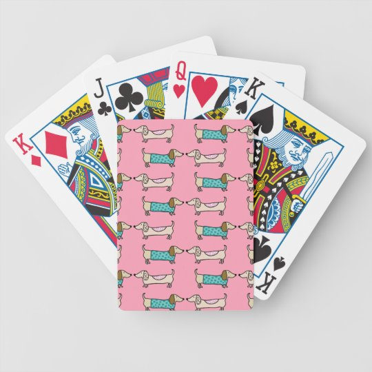 Dachshunds in pink love bicycle playing cards