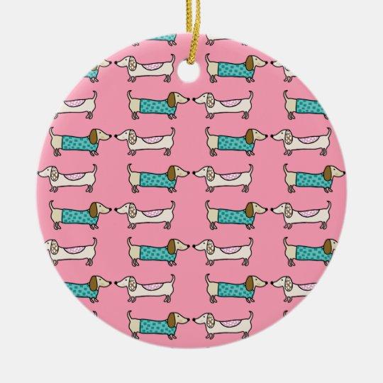 Dachshunds in pink love ceramic ornament