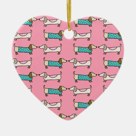 Dachshunds in pink love ceramic ornament