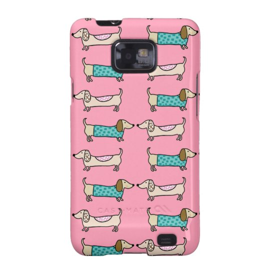 Dachshunds in pink love galaxy SII cover