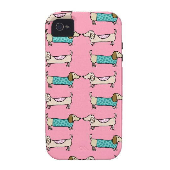 Dachshunds in pink love iPhone 4 case