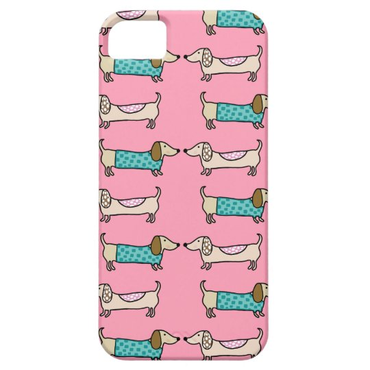 Dachshunds in pink love iPhone 5 case