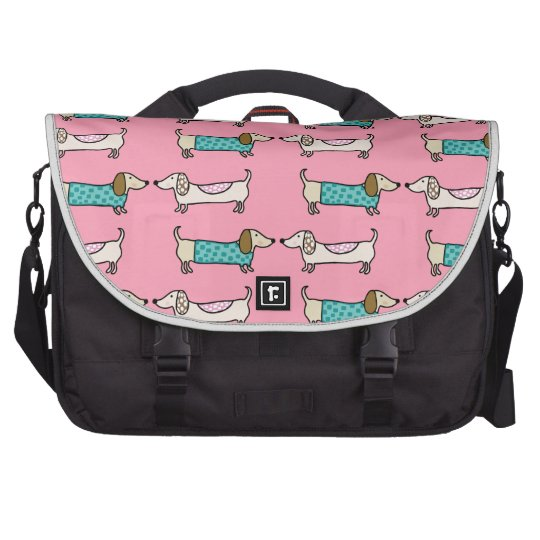 Dachshunds in pink love laptop bags
