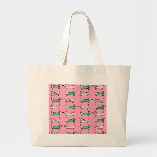 Dachshunds in pink love large tote bag