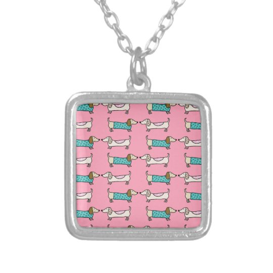 Dachshunds in pink love silver plated necklace