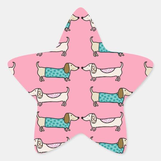 Dachshunds in pink love star sticker
