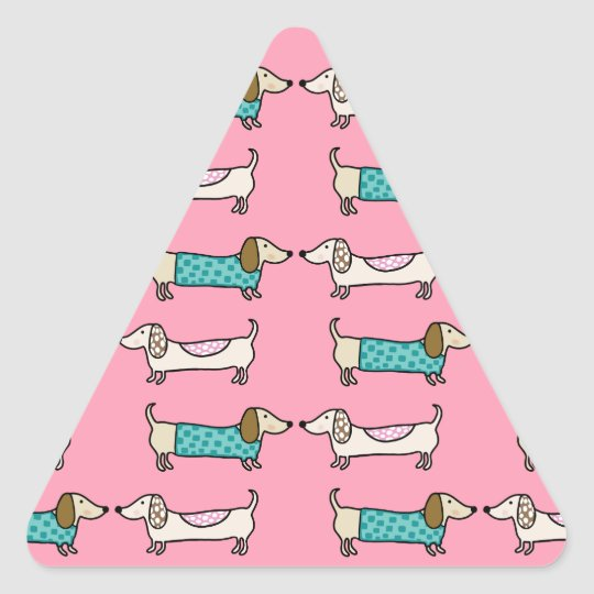 Dachshunds in pink love triangle sticker