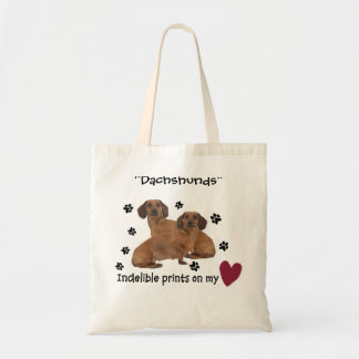 """Dachshunds"", Indelible Prints on my heart Tote Bag"
