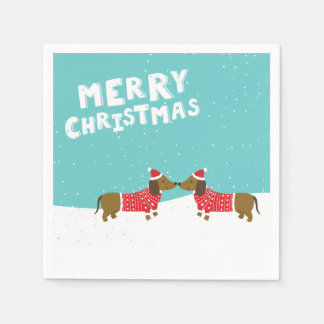 Dachshunds kissing in snow Merry Christmas napkin Paper Napkin