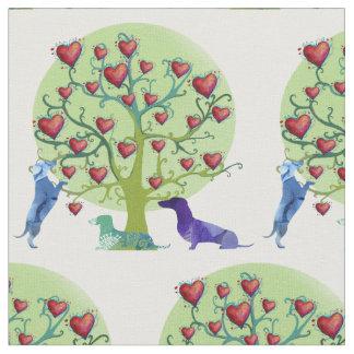 Dachshunds Love Garden  Fabric
