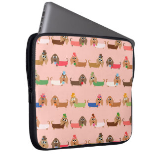 Dachshunds on Pink Laptop Sleeve