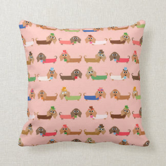 Dachshunds on Pink Polyester Throw Pillow
