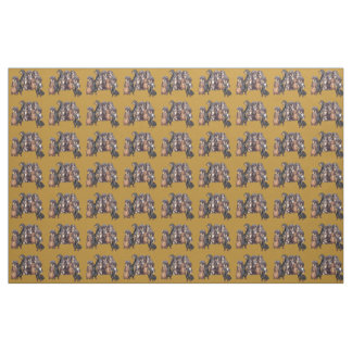 Dachshunds on tan background fabric