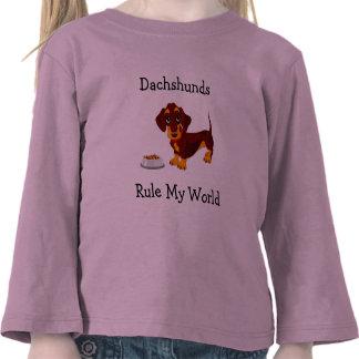 Dachshunds Rule My World Toddler  Tee Shirt