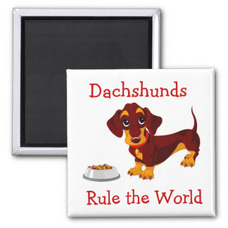 Dachshunds Rule the World Cartoon Puppy Magnet