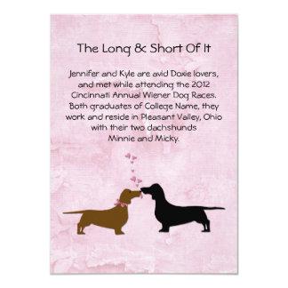 "Dachshunds Wedding Couple's Love Story Table Cards 4.5"" X 6.25"" Invitation Card"