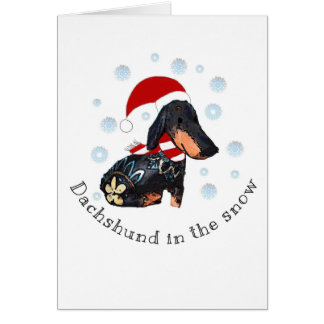 Dachsund in the snow card
