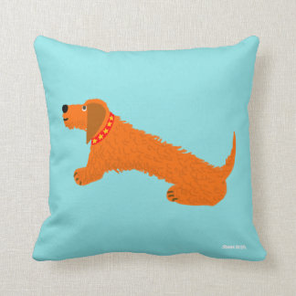 Dachsund Sausage Dog Cushion by artist John Dyer