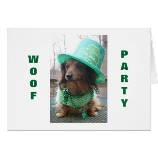 DACSHOUND IS READY TO PARTY ON ST PATRICK S DAY CARDS