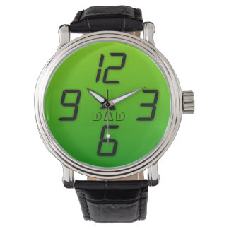 Dad 70s green faux led effect retro style watch