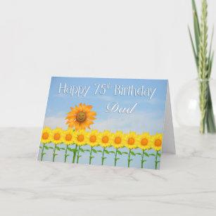 Dad 75th Birthday Sunflowers Card
