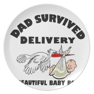 Dad and beautiful baby son plate