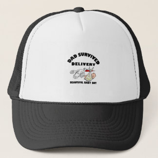 Dad and beautiful baby son trucker hat