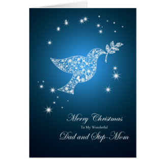 Dad and Step-mom , Dove of peace Christmas Card